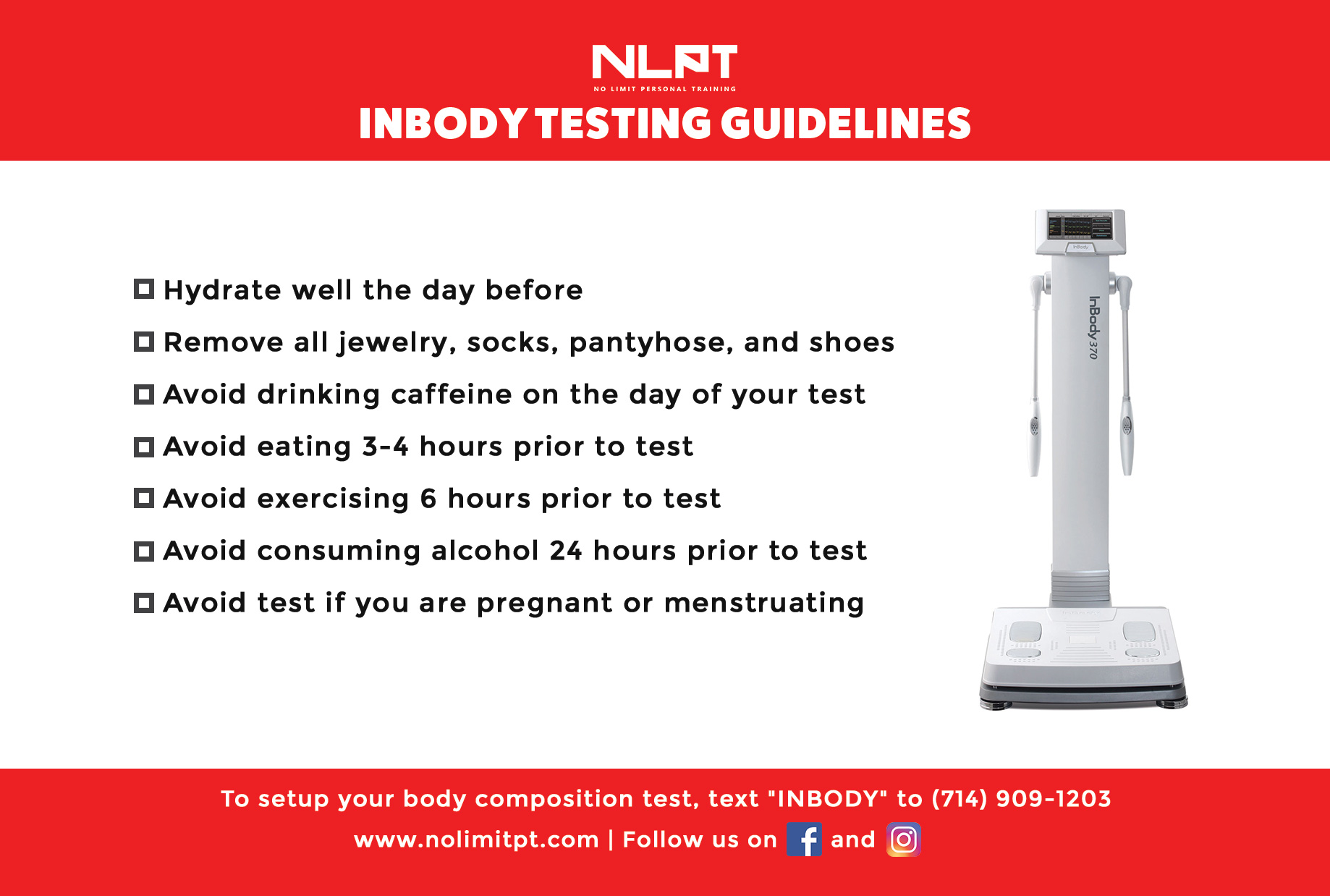 InBody Testing Guidelines
